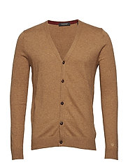 Classic cardigan in soft cotton quality - CAMEL MELANGE