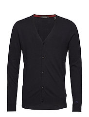 Classic cardigan in soft cotton quality - MIDNIGHT