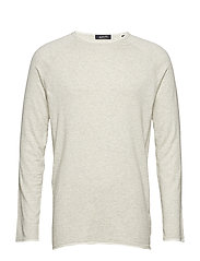 Pullover in cashmere blend quality with contrast rolled hem - BONE WHITE MELANGE