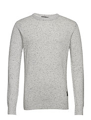 Crewneck pullover in wool blend quality with neps - COMBO A