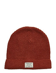 Classic beanie in structured knit - RUST MELANGE