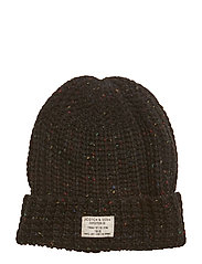 Chunky beanie in neps quality and structured knit - BLACK MELANGE