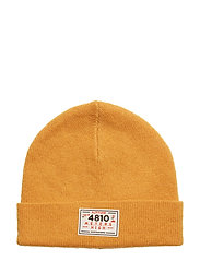 Beanie in double-layered knit with rubber badge - JAGGER YELLOW
