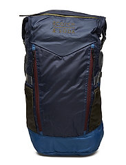 Colourblock backpack in ripstop nylon quality with roll-top - COMBO A
