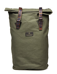 Easy canvas backpack with branded tapes - PINE