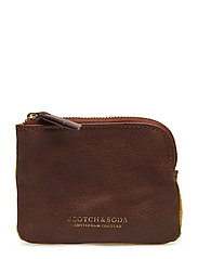 Classic leather and suede coin wallet - BROWN