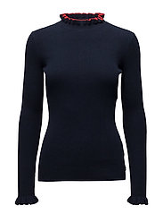 Tight rib knit pullover - NIGHT