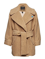 Relaxed fit wool coat with fabric belt - CAMEL