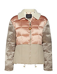 Chic bomber jacket in satin & canvas quilted mix, with a ted - COMBO A