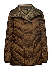 Quilted longer length jacket with asymmetric quilting - MOSS