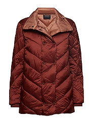 Quilted longer length jacket with asymmetric quilting - TERRACOTTA