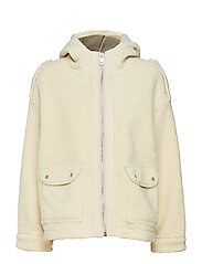 Bonded teddy jacket with hood - OFF WHITE