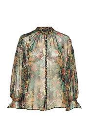 Voluminous sheer printed blouse with lurex - COMBO B