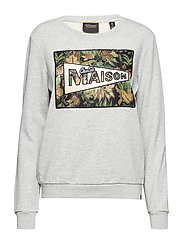 Crew neck sweat with various logo themed artworks - GREY MELANGE