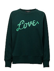Crew neck sweat with artworks - BOTTLE GREEN