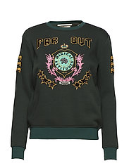 Crew neck sweat with embroidered artwork - FOREST GREEN