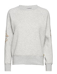 Crew neck sweat with sleeve embroidery - GREY MELANGE