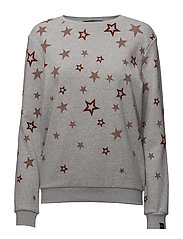Crew neck sweat with various allover artworks - GREY MELANGE