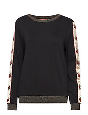 Crew neck sweat with embroidered woven sleeve panels and lur - BLACK