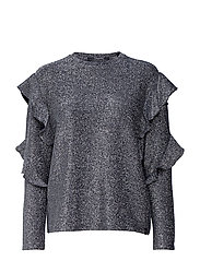 Long sleeves lurex top with ruffles - NAVY