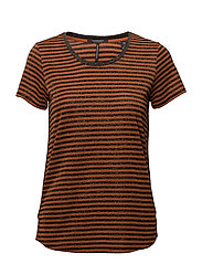Short sleeve crew neck tee with piping details - COMBO L