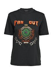 High neck tee with embroidered artwork - FOREST GREEN