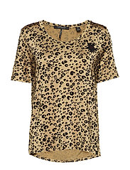 Relaxed fit mercerised tee with animal print - COMBO A