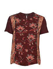 Mixed print top with jersey back and sleeves - COMBO M