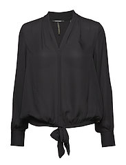 V-neck top with tie detail - BLACK