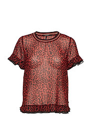 Mixed print top with rib neckline - COMBO A