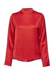 High neck top with press buttons at backpanel - MARS RED
