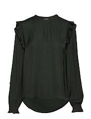 Top with ruffles and smock detail - FOREST GREEN