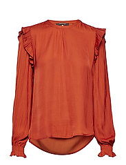 Top with ruffles and smock detail - RUST