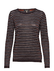 Knitted crew neck in stripes with lurex - COMBO B