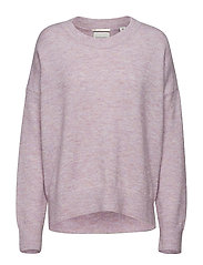 Basic crew neck in fluffy yarn - LILAC MELANGE