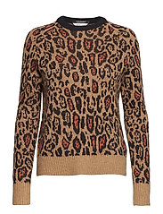Crew neck knit in animal pattern - COMBO A