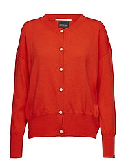Cashmere blend relaxed fit cardigan - POPPY RED