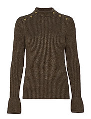 Cosy pullover knit with tonal press buttons at shoulders - MILITARY MELANGE