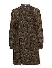 Sheer printed dress with voluminous sleeves
