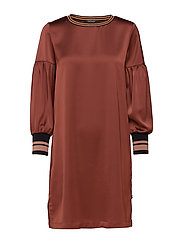 Dress with voluminous sleeves and sporty ribs - BRICK