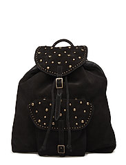 Suede backpack with studs - BLACK