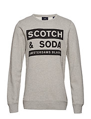 Scotch and Soda Ams Blauw graphic sweat - GREY MELANGE