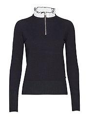 Knit with feminine woven collar - BLACK