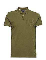 Ams Blauw garment dye polo - MILITARY GREEN