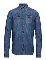 Ams Blauw easy western shirt - WASHED INDIGO