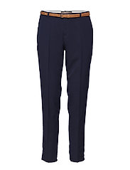 Classic tailored pants in solids, sold with a belt - NIGHT