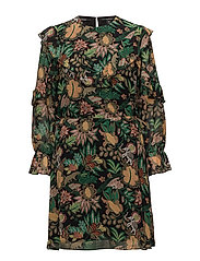 Printed drapey ruffle dress - COMBO J