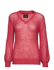 Fluffy v-neck knit in special stitch - ELECTRIC PINK