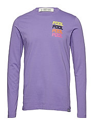 Streetwear-inspired longsleeve tee with artworks - PURPLE ROCK