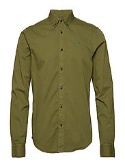 REGULAR FIT- Classic garment dyed shirt - MILITARY
